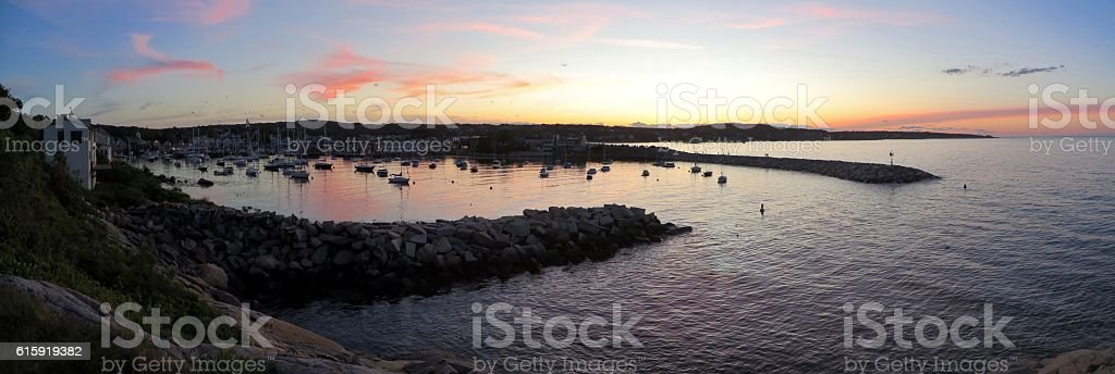 Rockport Harbor Sunset stock photo