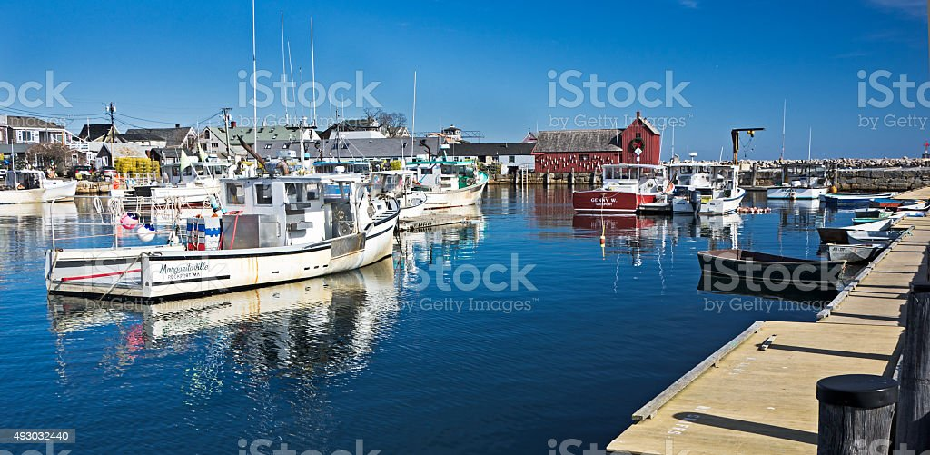 Rockport Harbor with the Fleet stock photo