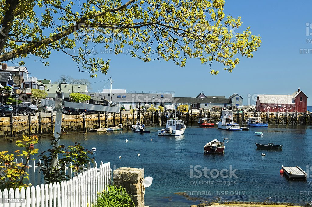 Rockport Harbor-Spring stock photo