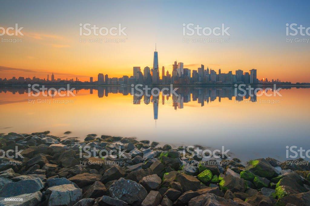 Rocks along the Hudson River and Manhattan Skyline stock photo