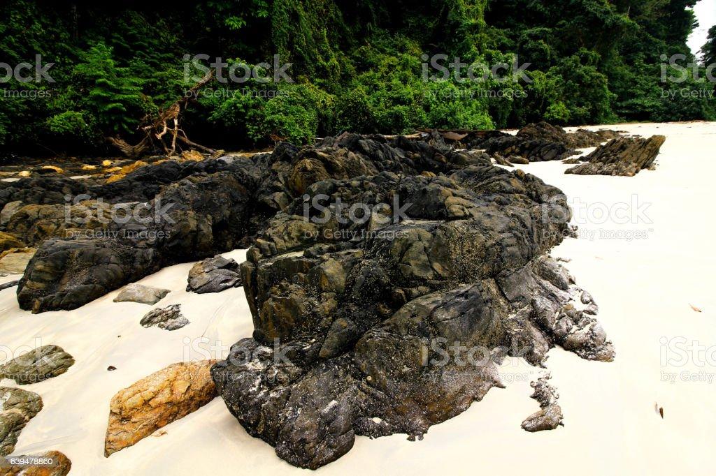 rocks and beach stock photo