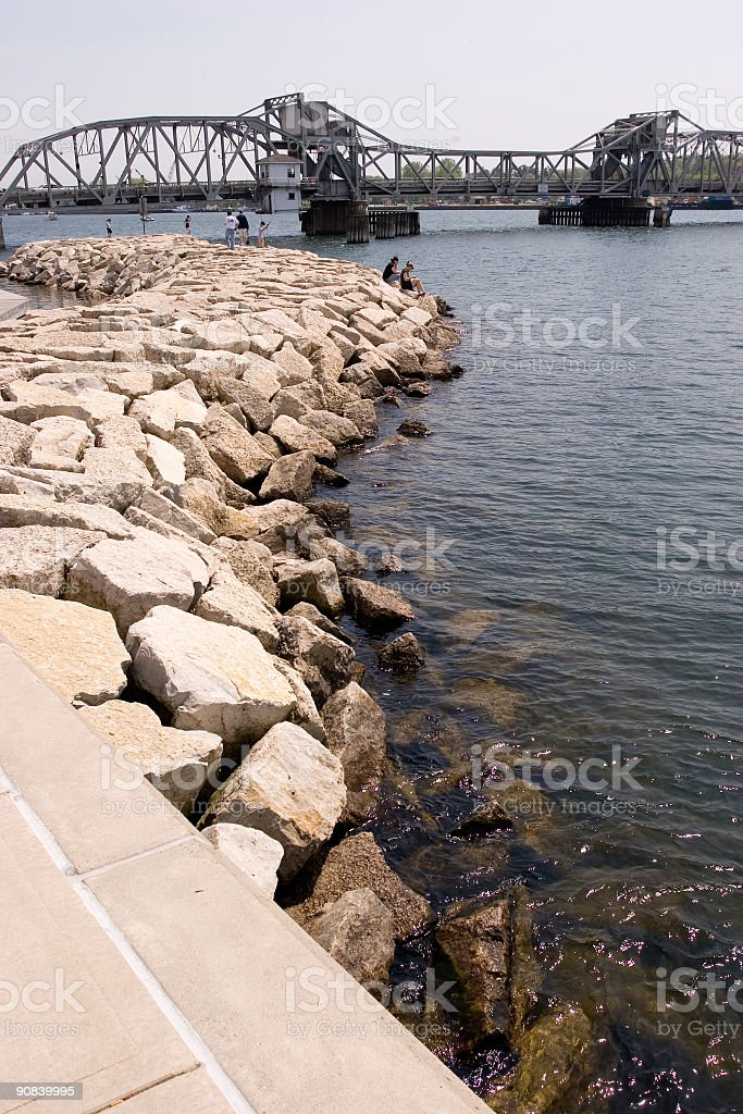 Rocks and Bridge stock photo