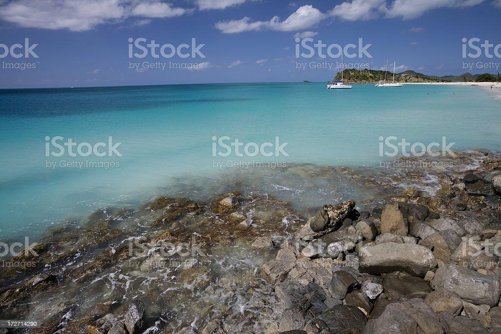 Rocks and Caribbean Sea stock photo