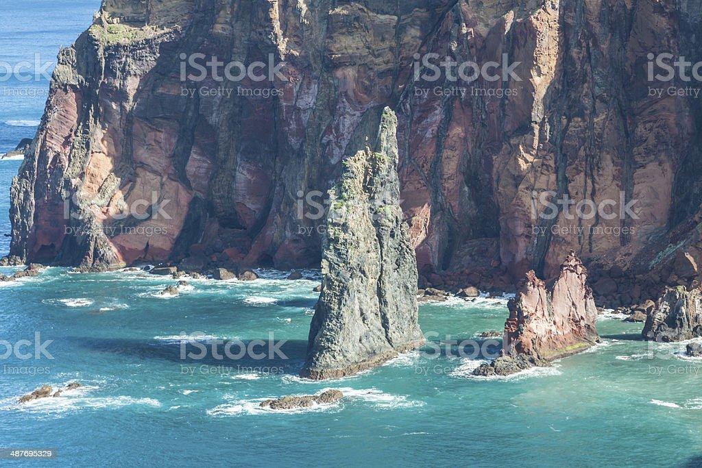Rocks and cliffs at Cabo sao Lorencio Madeira Portugal royalty-free stock photo