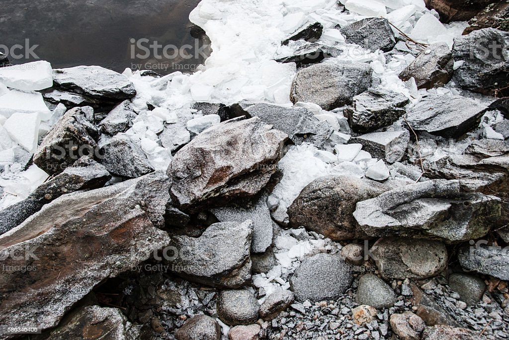 Rocks and ice on the beach stock photo