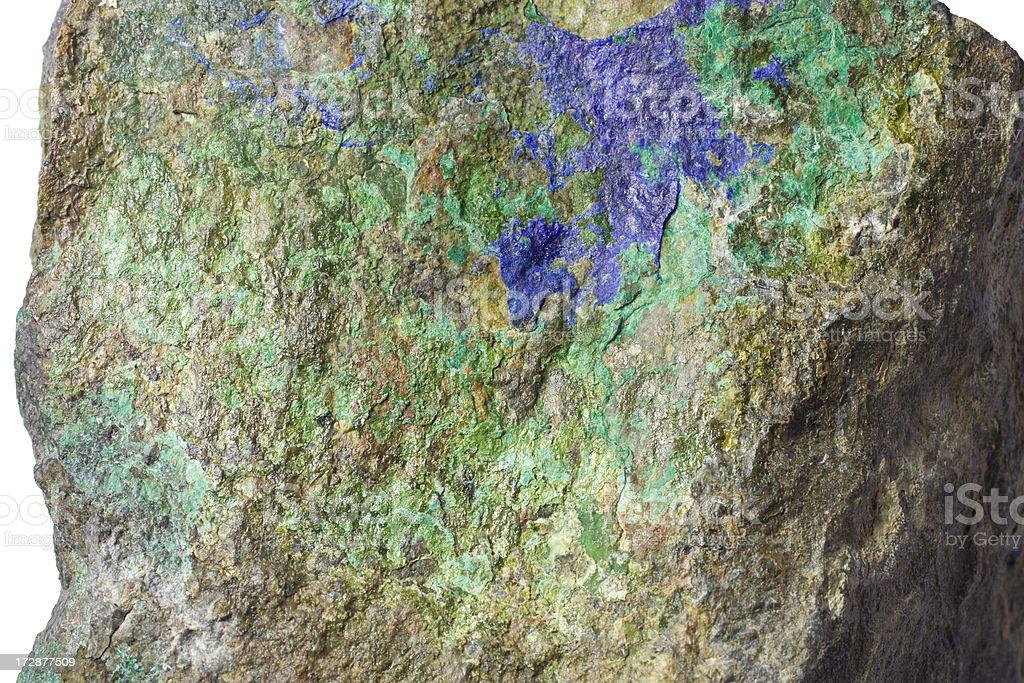 Rocks and Minerals - Azurite, Malachite in Hornfel stock photo