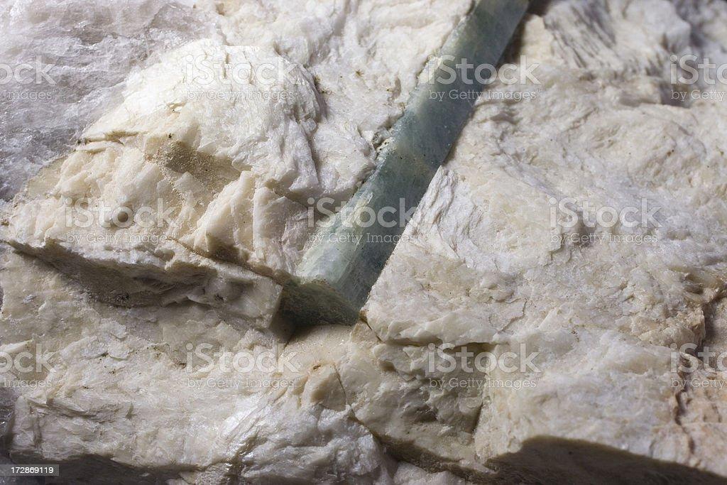 Rocks and Minerals - Beryl Crystal in Albite Feldspar stock photo
