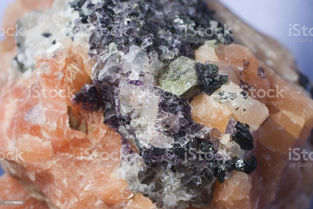 Rocks and Minerals - Calcite, Fluorite, Apatite, Diopside stock photo
