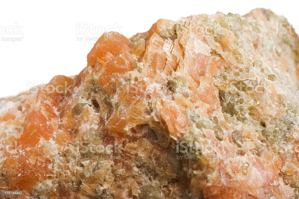 Rocks and Minerals - Calcite (orange) royalty-free stock photo