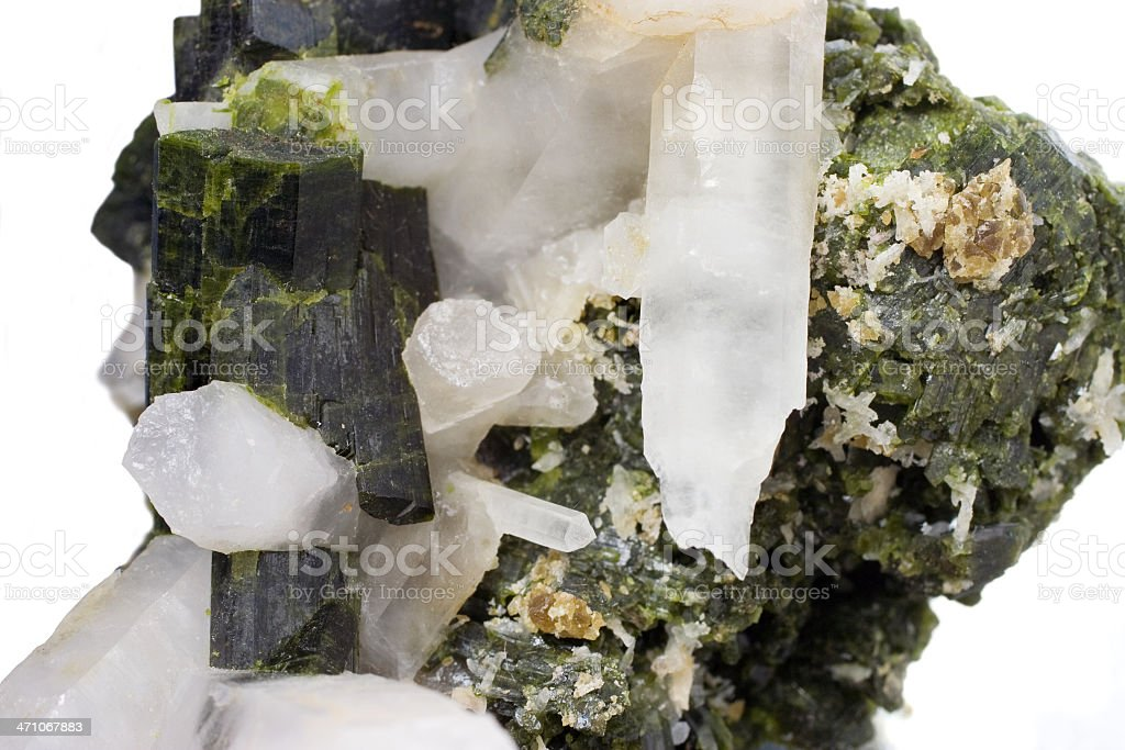 Rocks and Minerals - Epidote with Quartz stock photo