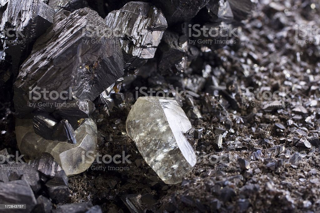 Rocks and Minerals - Sphalerite with Calcite stock photo