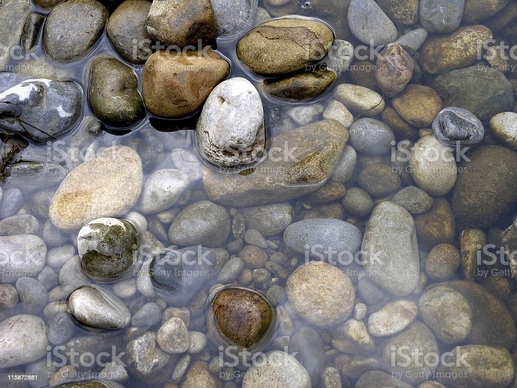 Rocks and pebbles in water of stream or river stock photo