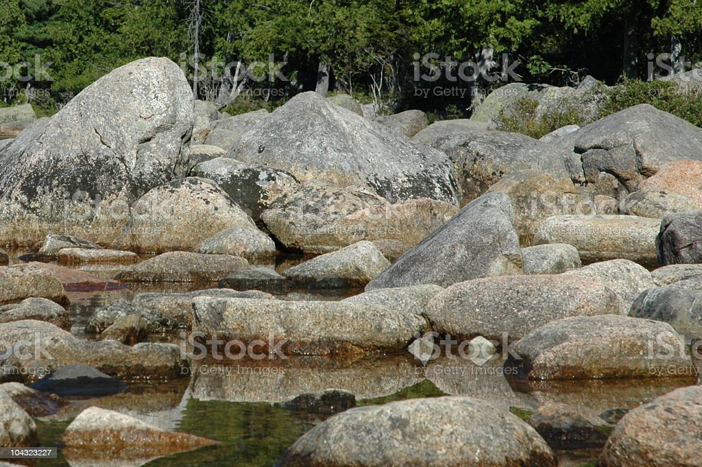 rocks and reflections stock photo