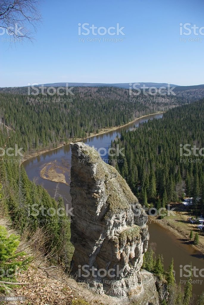 rocks and river stock photo