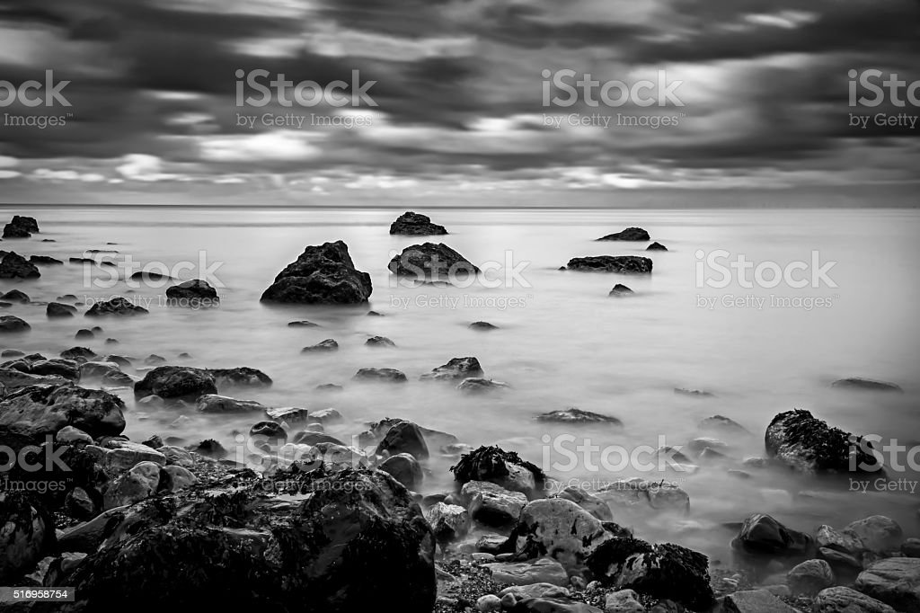Rocks and Sea, Llandudno, North Wales stock photo