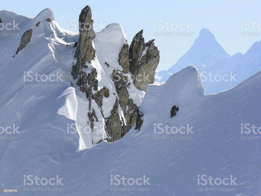 Rocks and the Matterhorn stock photo