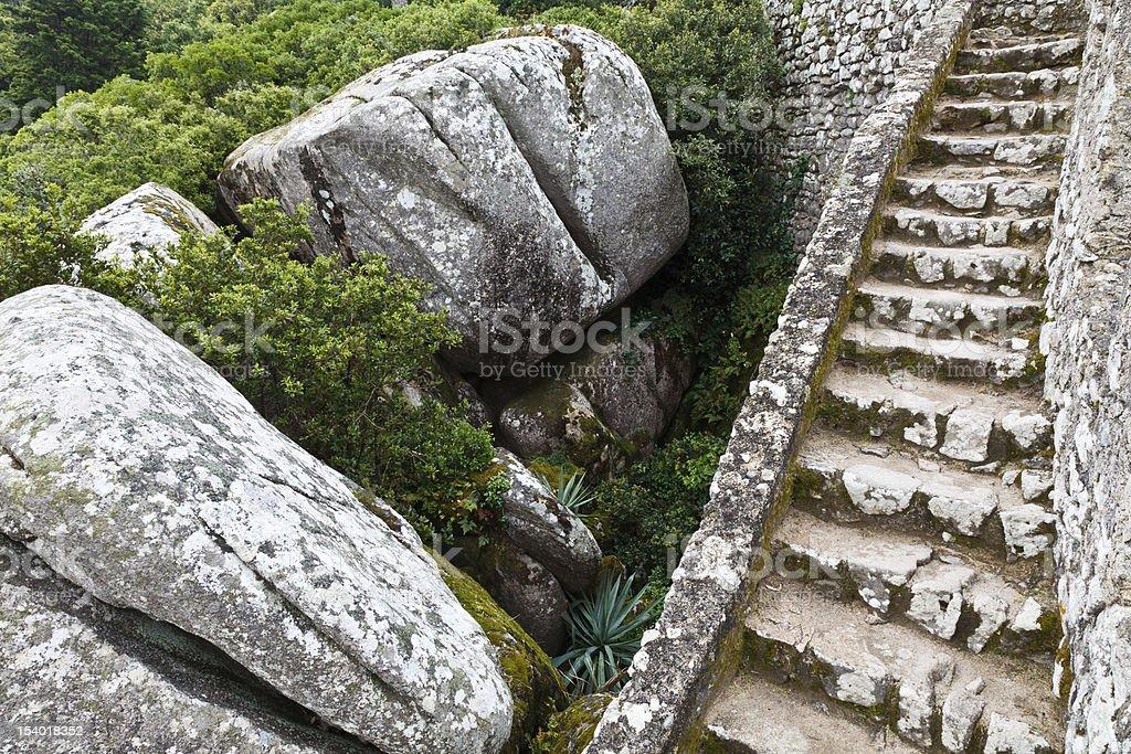 Rocks and the Wall in Moorish Castle royalty-free stock photo