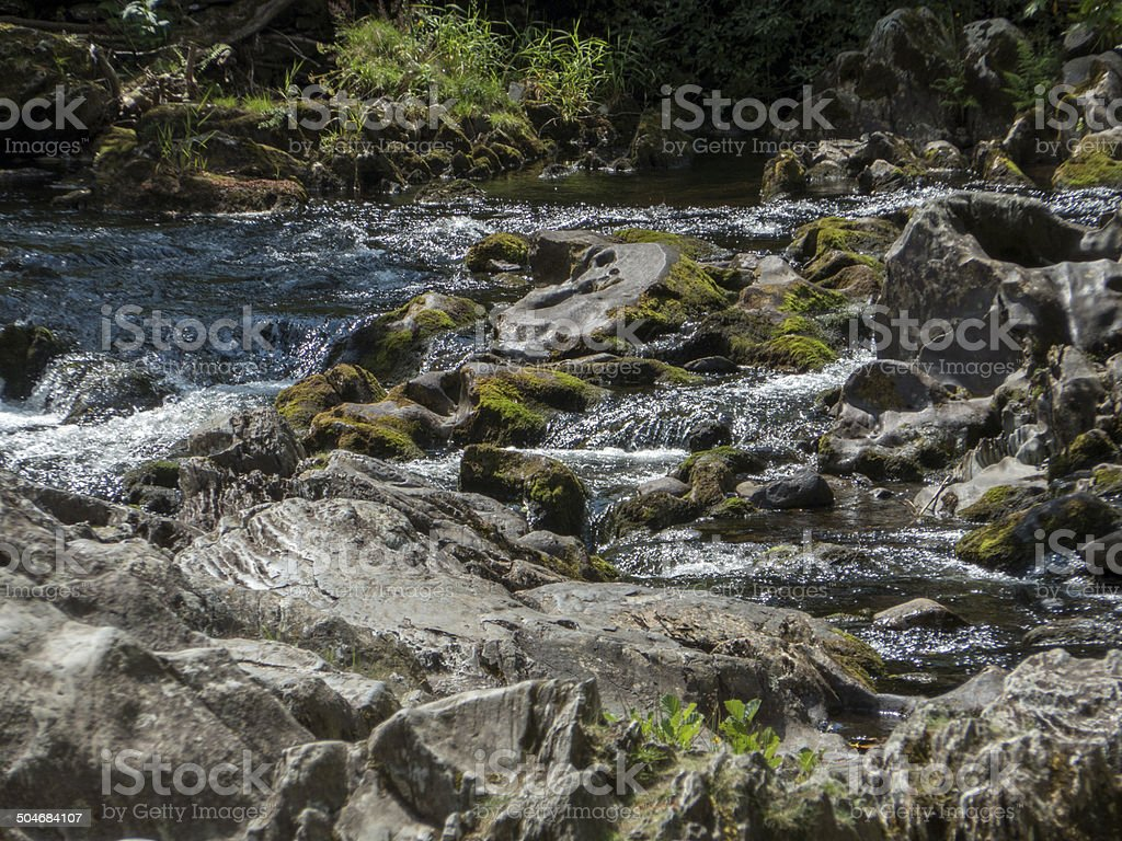 rocks and waterfall, betws-y-coed, north wales royalty-free stock photo