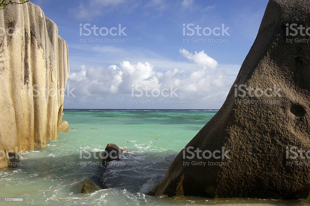 Rocks at Anse Source d'Argent royalty-free stock photo