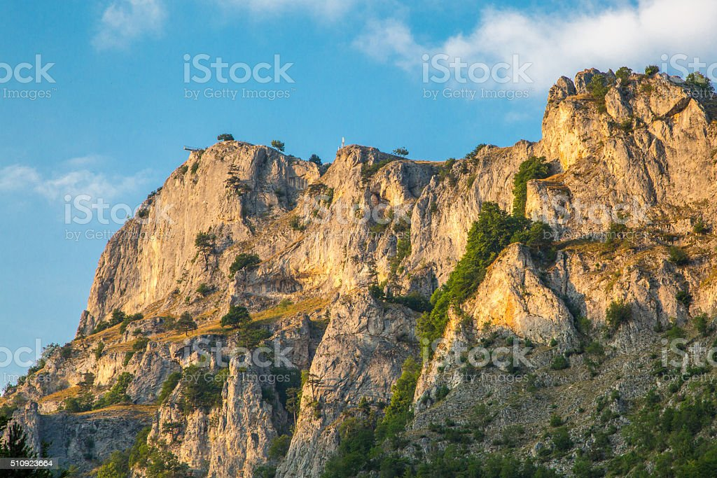 Rocks at Rhodope or Rodopi mountains in Bulgaria and Eagle stock photo