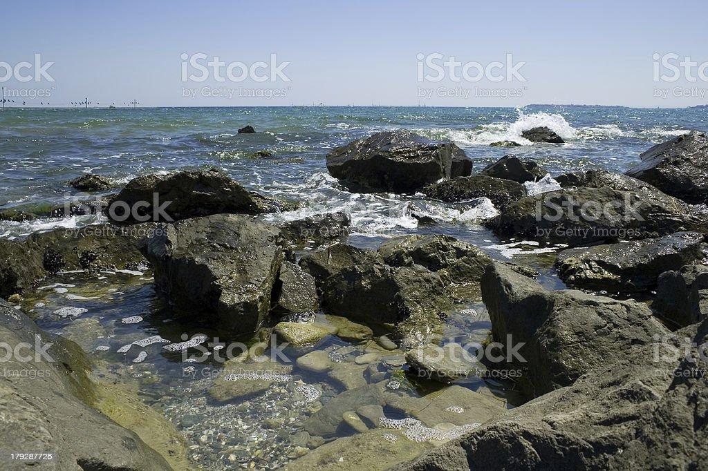 Rocks at sea coast stock photo