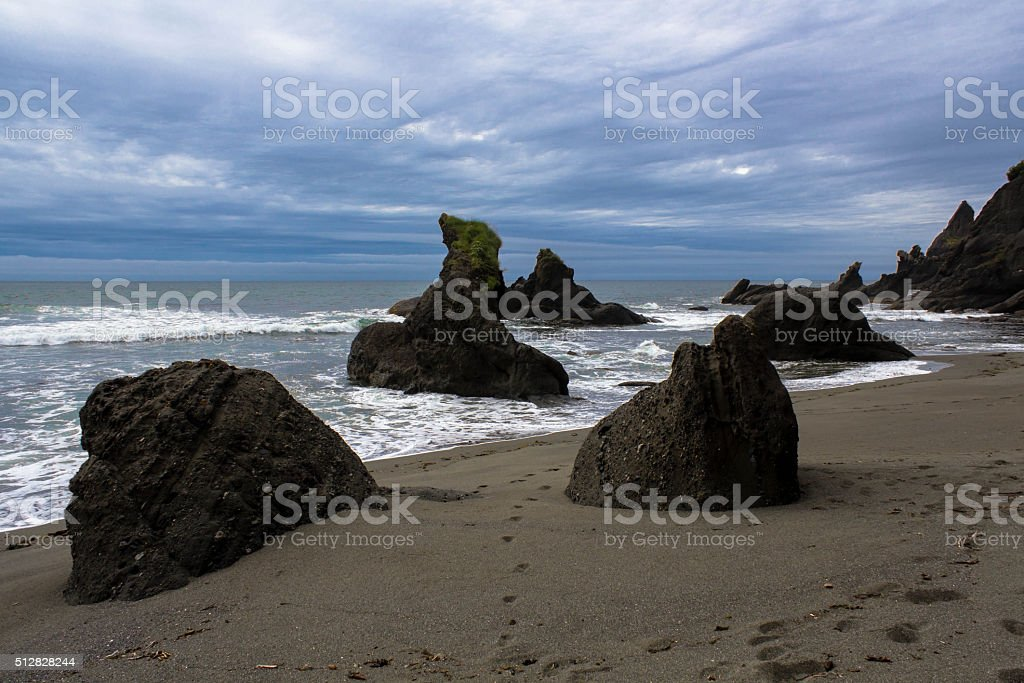 Rocks at Shi Shi Beach stock photo