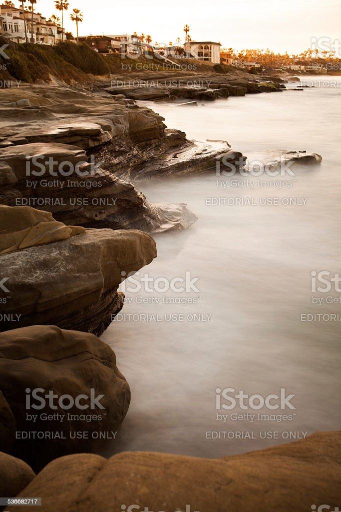 Rocks at sunset in La Jolla California stock photo