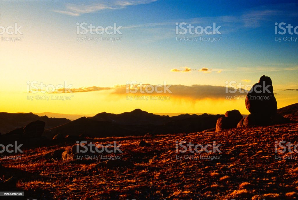 Rocks at Sunset in Mountains stock photo