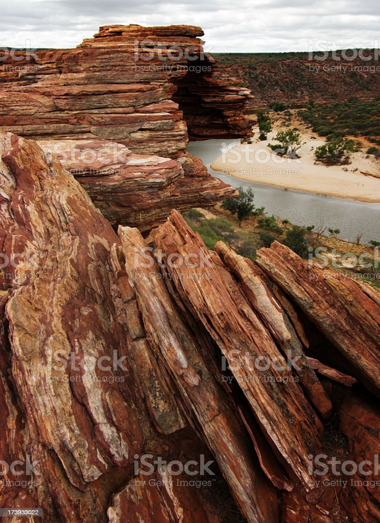 rocks at the Murchison River stock photo
