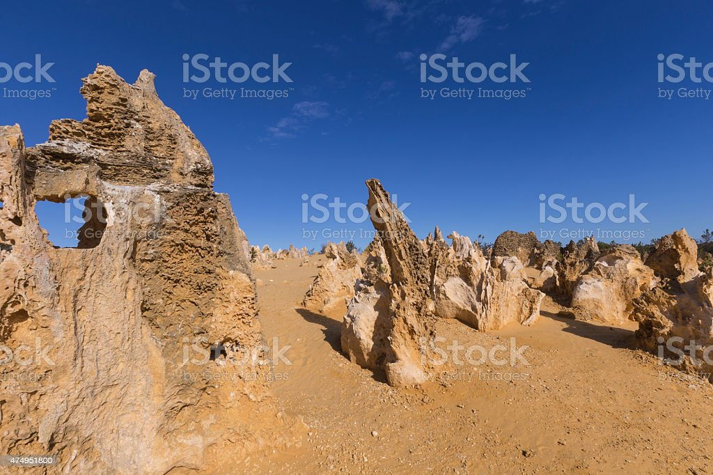 Rocks at The Pinnacles Desert  Western Australia in Summer stock photo