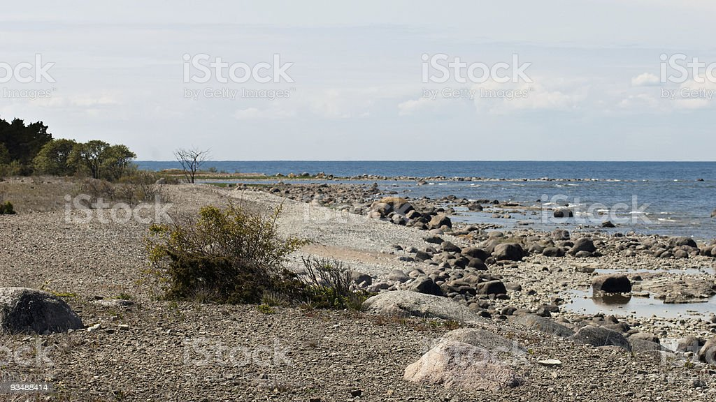 Rocks, beach and sea on swedish coastline royalty-free stock photo