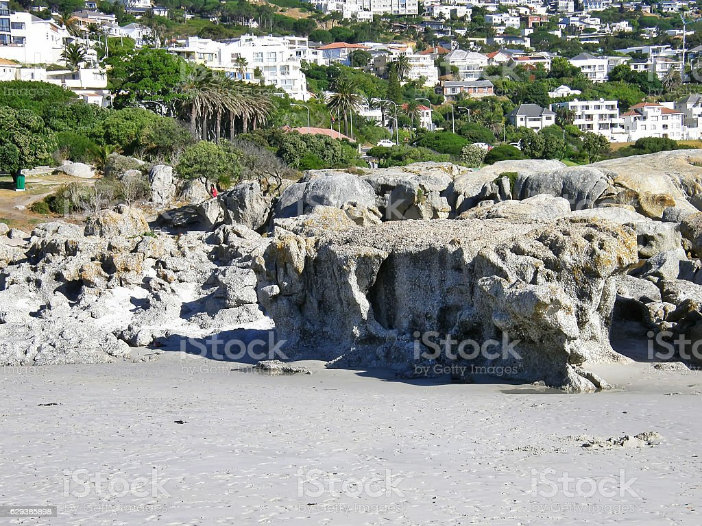 Rocks Beach, Camps Bay, Cape Town, South Africa stock photo