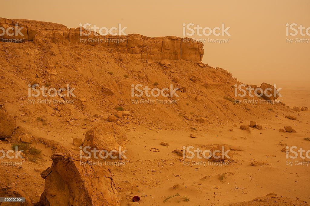 Rocks, boulders and cliffs at Mutlaa, Kuwait stock photo