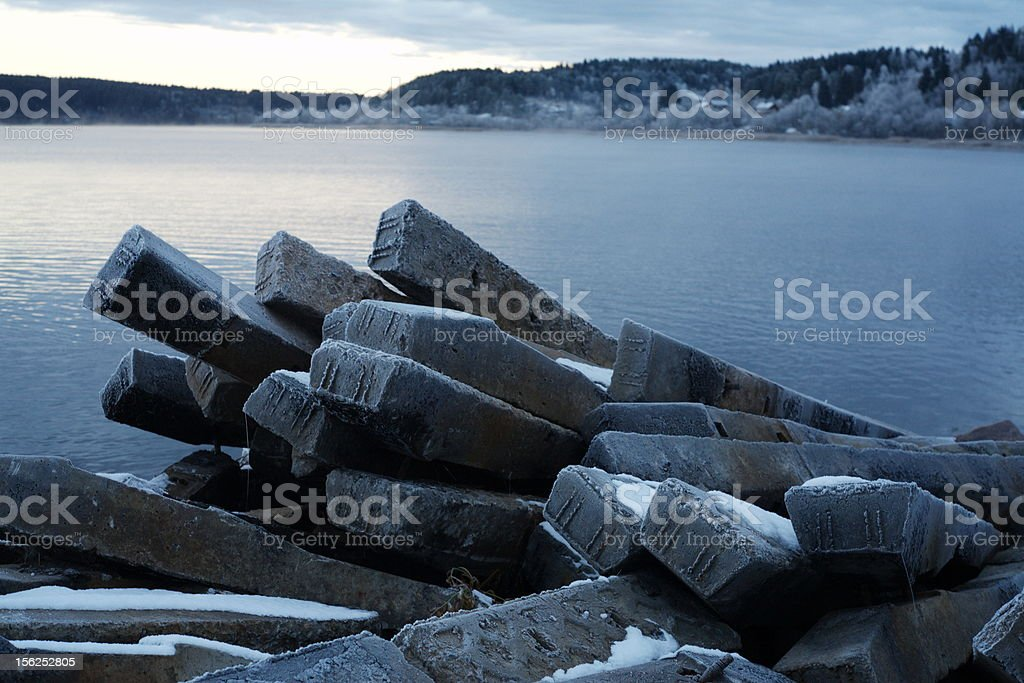 rocks by the lake royalty-free stock photo