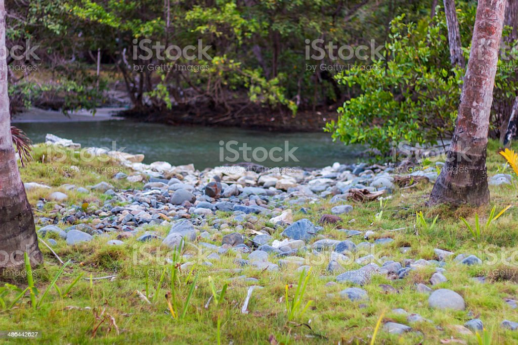 Rocks by the river stock photo