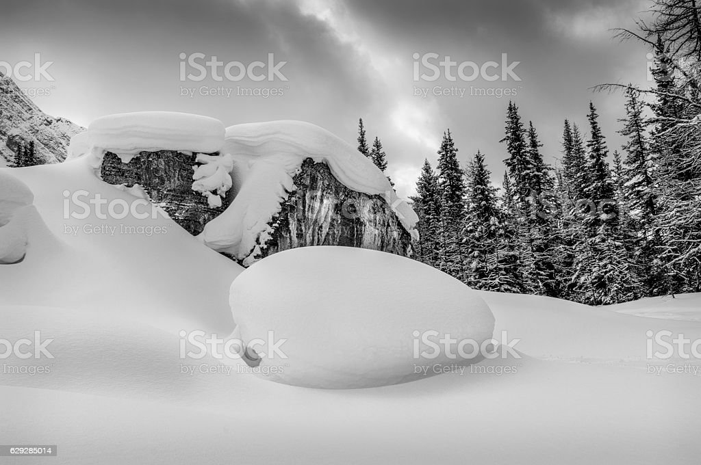 Rocks Covered of Snow stock photo