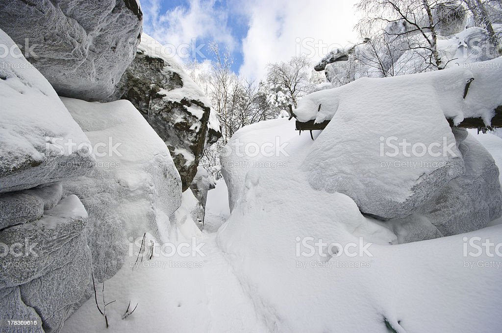 Rocks during the winter stock photo