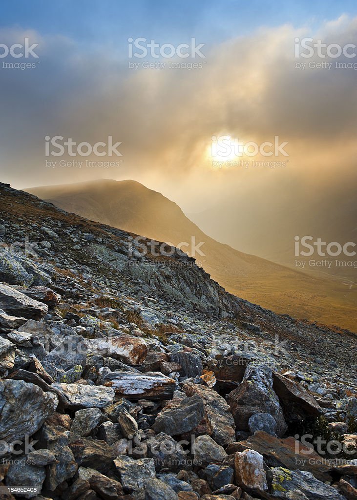 Rocks, fog and sun royalty-free stock photo