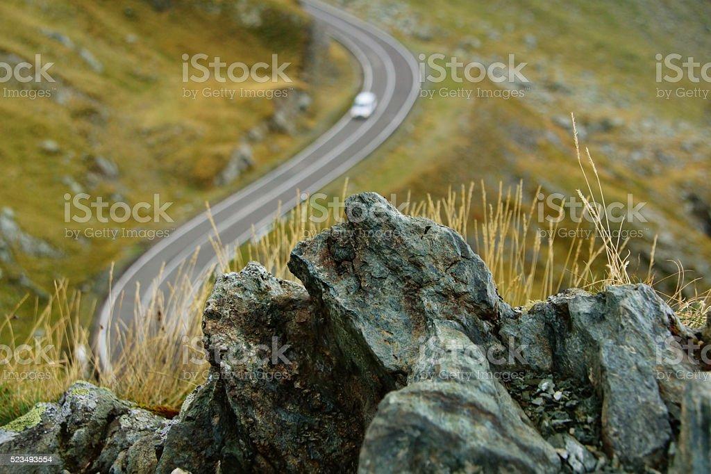 Rocks foreground in Carpathian Mountains stock photo