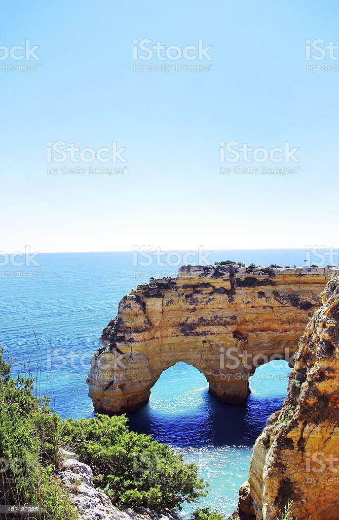 Rocks formation in Marinha beach, Algarve, Portugal stock photo