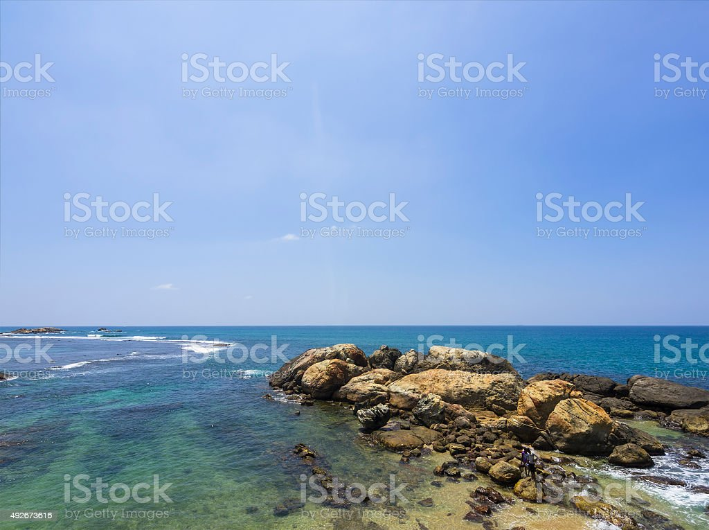 Rocks garden in front of fort Galle in Sri Lanka stock photo