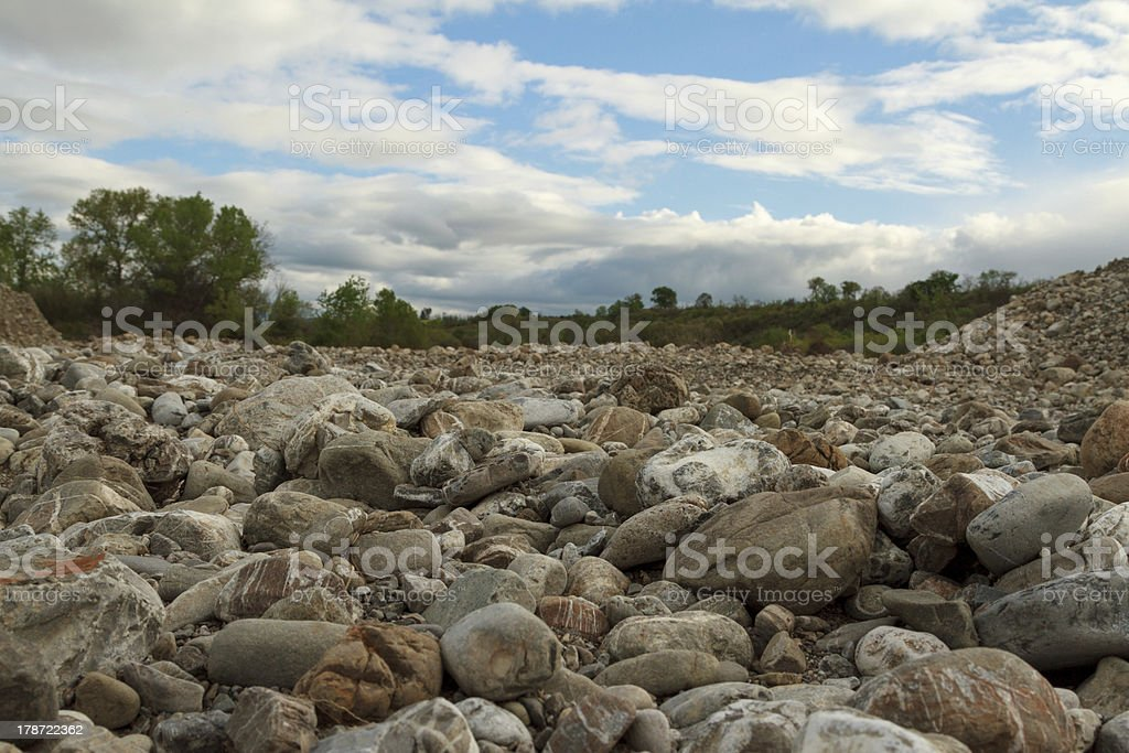 Rocks in a dry river stock photo