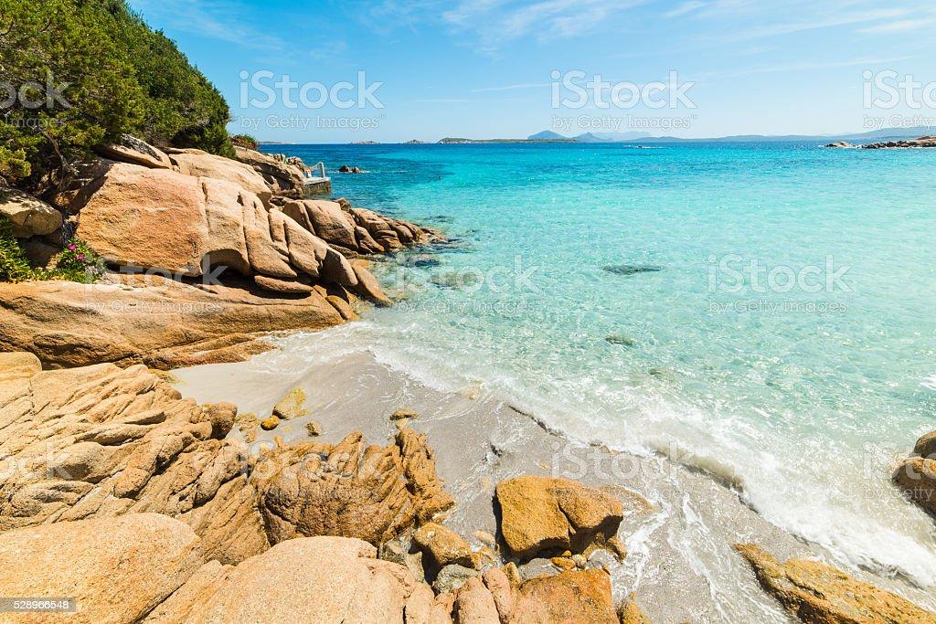 rocks in Capriccioli beach in Costa Smeralda stock photo