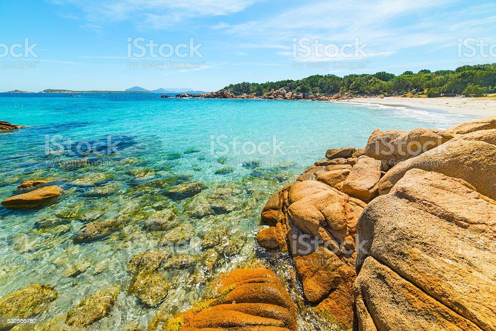 rocks in Capriccioli beach stock photo