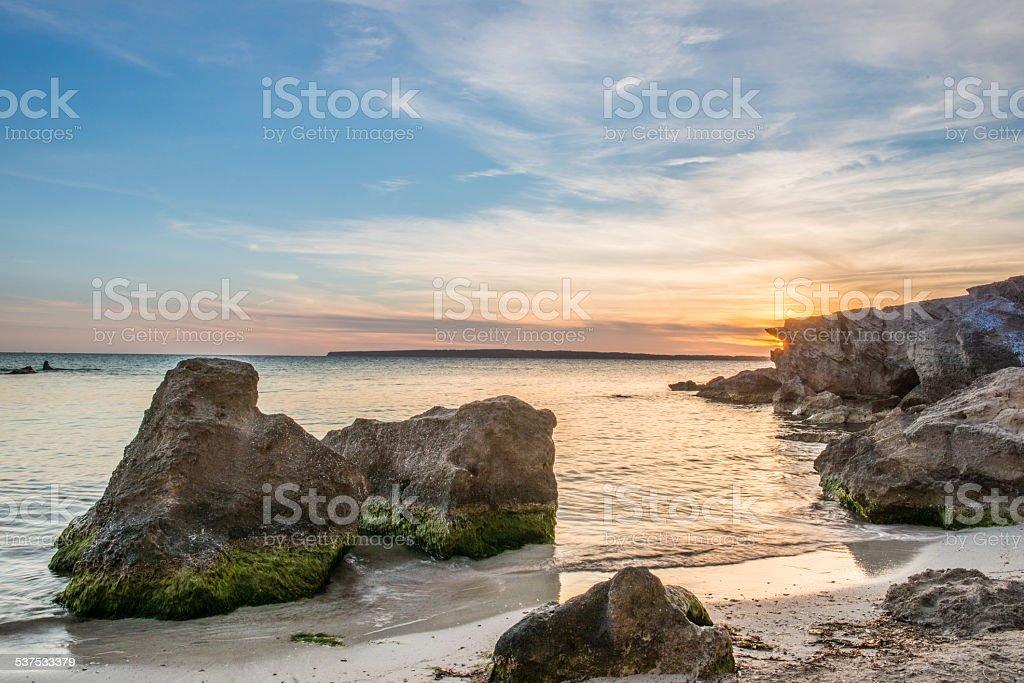Rocks in Formentera stock photo