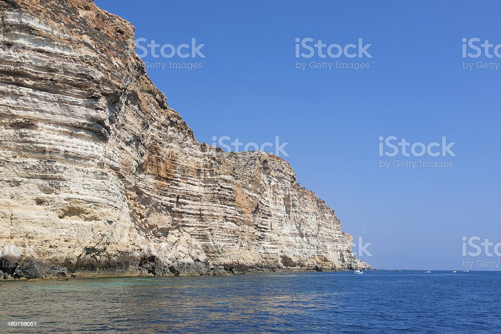 rocks in lampedusa island sicily - italy stock photo