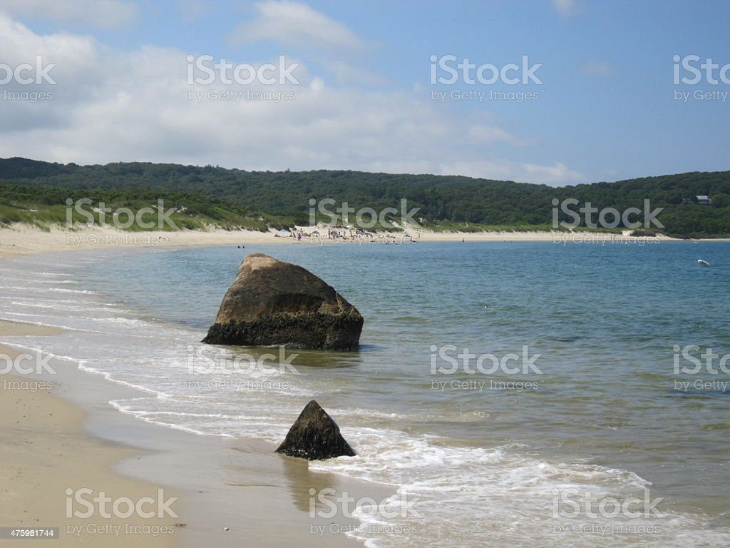 Rocks in Martha's Vineyard Ocean stock photo