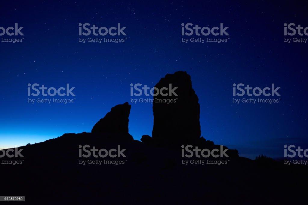 rocks in night time stock photo