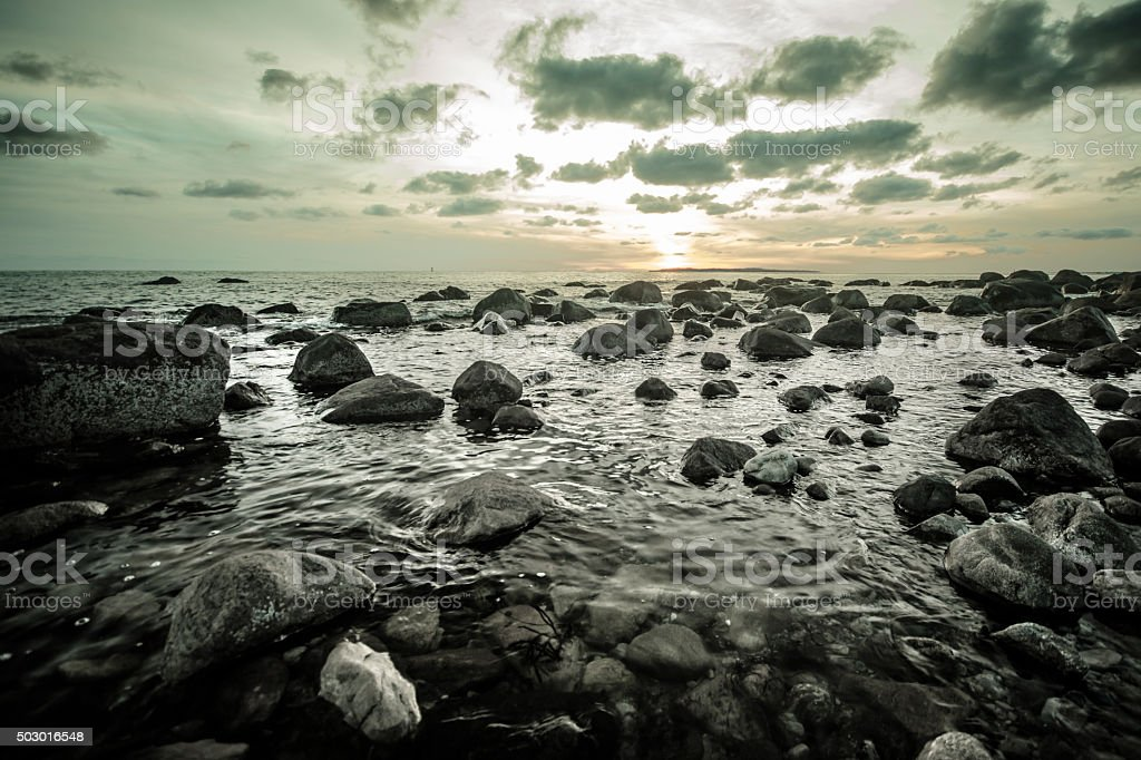 Rocks in Ocean, Connecticut stock photo