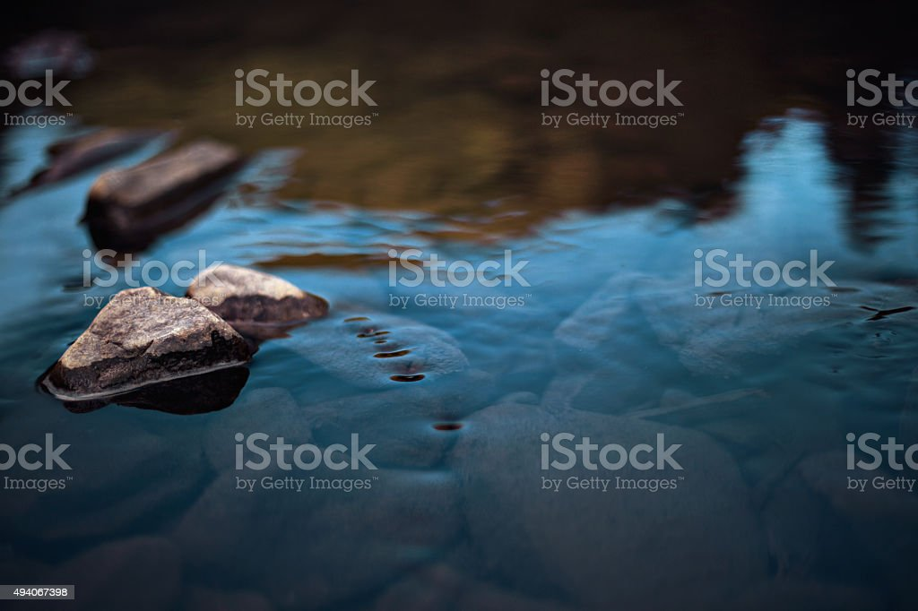 Rocks in slow rinnig stream stock photo